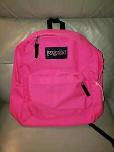 NWT JanSport Superbreak Ultra Pink Backpack Neon Free Shipping!