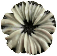 Natural Stone Carved Flower Grey and Black Serpentine Stone 30mm Jewelry Making