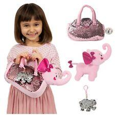 Little Jupiter -  Pink Elephant Plush Pet Set With Bag 3pcs Set - Stuffed Animal