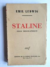 STALINE ESSAI BIOGRAPHIQUE 1942 EMIL LUDWIG RUSSIE URSS