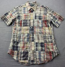 RALPH LAUREN POLO India Mens Madras Patchwork Custom Fit SS Button Shirt NEW S