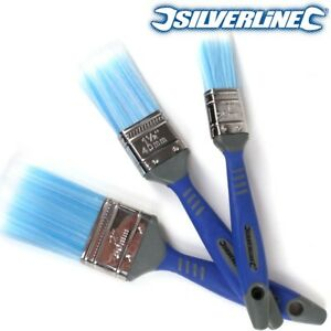 """3x SILVERLINE NO BRISTLE LOSS PAINT BRUSHES 1"""" 1.5"""" 2"""" Smooth Emulsion Painting"""