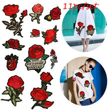 11pcs Rose Flower Applique Badge Embroidered Iron Sew on Patch Bust Cloth Crafts