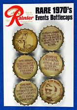 6 RARE & UNIQUE 1970's Rainier Beer Events Bottlecaps Seattle 19323