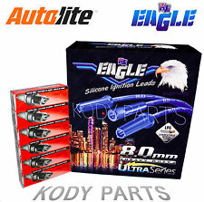 EAGLE IGNITION LEADS & AUTOLITE PLUGS - for Ford Falcon XF 4.1L 6cyl EFI