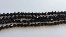 6mm - black BICONE beads - glass faceted loose