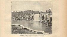 Stampa antica CASERTA cascate giardini della REGGIA REALE 1891 Old antique print