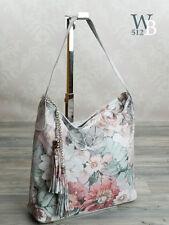 Made in Italy Schulter Damen Tasche echt Leder Blumen print merhfarbig 044M
