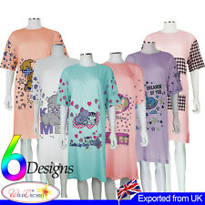 Ladies Nightwear  Nightie 100% Cotton Crew Neck Short Sleeves Pyjamas