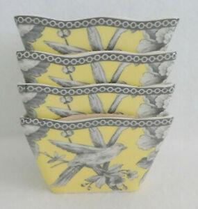 222 FIFTH ADELAIDE YELLOW DESSERT APPETIZER Bowls. SET of 4 NEW  BEAUTIFUL!!