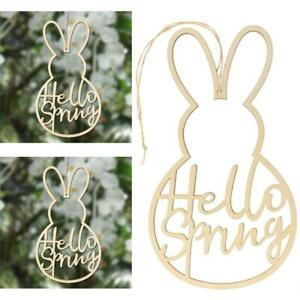 5x Wooden Hello Spring Wreath Sign Easter Bunny Garland Wedding Party Decoration