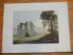 1821 Print, Aquatint Tour of English Lakes///NORTH WEST VIEW OF FURNESS ABBEY
