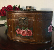 Vintage Hand Painted Floral Wooden Dresser Box/Jewelry/Trinket/Decorative Box