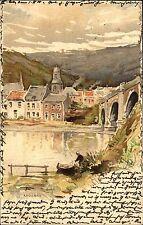 1900 Künstlerkarte von Andenne Partie an der Brücke gelaufen mit Stempel Cöln