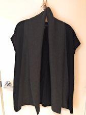 Banana Republic Merino Wool Black & Grey Open Front Sleeveless Sweater Large