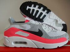 NIKE AIR MAX 90 ULTRA 2.0 FLYKNIT ID WHITE-GREY-PINK-BLACK SZ 9.5 [914123-992]