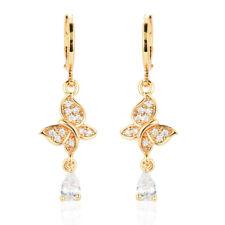 Women Butterfly CZ 18K Gold Plated Cubic Zirconia Drop Dangle Earrings Jewelry