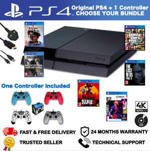 SONY PLAYSTATION 4 PS4 - 500GB - BLACK CONSOLE + CONTROLLER - CHOOSE YOUR BUNDLE