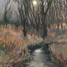 "Millie Gift Smith 18""x18"" Acrylic Canvas Moonlight thru Trees"