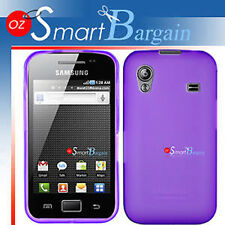 New Purple Soft Gel TPU Cover Case For Samsung ACE S5830 + Screen Protector