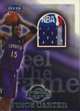1999-00 Fleer Focus Feel The Game Vince Carter NBA LOGOMAN Game Used Jersey #1/1