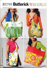 BUTTERICK SEWING PATTERN 5799 WAVERLY SHOPPING, SHOULDER, CARRY BAGS & TOTES
