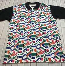 90s VTG GREG NORMAN SHARK GOLF ABSTRACT VAPORWAVE All Over Print XL Polo Shirt