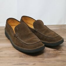 Tods Mens Suede Penny Loafer Driving Slip On Shoes Brown Made in Italy Sz 9.5