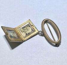 2 Picture Locket Brooch Pin Antique Victorian Monogrammed Black & White