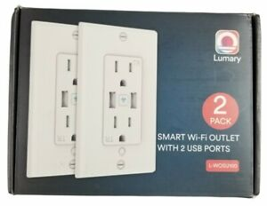 2 Lumary Smart Wi-Fi In Wall USB Charging Outlets 15 Amp 125 Volt New