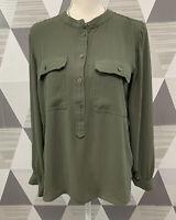 Ann Taylor LOFT Women's Size S Green Scoop Neck Long Sleeve Top Blouse #17C21