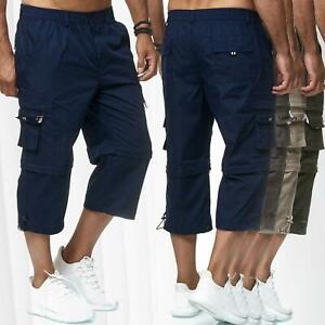 Mens 3/4 Elasticated Waist Long Length Shorts Cargo Combat Three Quarter Shorts