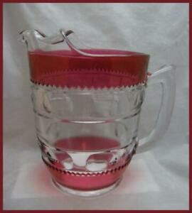 Vintage Kings Crown Glass Water Pitcher Cranberry Flash Ice Lip