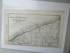 Original Vintage Map of the Cleveland, Painesville & Eastern Railroad System1910