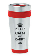 Stainless Steel Insulated 16oz Travel Mug Coffee Cup Keep Calm Carry On