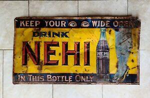 Very Rare Original 1930's NEHI RC Royal Crown Cola Leg Tin Litho Soda Sign