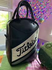Golf Titleist Rare Vintage Leather Black/White Leather Golf Bag Shoes/Balls