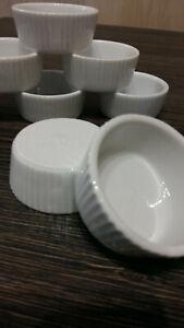 6x Creme Brulee Förmchen kleine Auflaufformen Set Keramik Weiß / Top Zustand