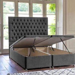 Grey Velvet Ottoman Storage Gaslift divan Bed + High Floorstanding Headboard
