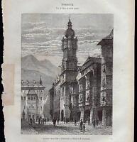 AUSTRIA OSTERREICH INNSBRUCK XILOGRAFIA LE MAGASIN PITTORESQUE 1868