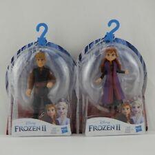 "2 New Disney FROZEN II 4"" Figures  Kristoff  Anna Removable Cape Dolls Hasbro"