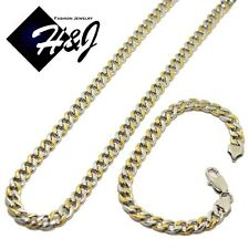 "24""MEN's Stainless Steel 7mm Gold Silver Cuban Curb Link Chain Necklace Bracelet"