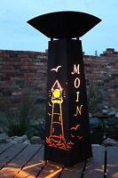 Rostsäule Leuchtturm + Rostschale BELEUCHTBAR rostig deko BESTSELLER HÖHE 118cm