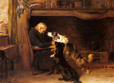 Wonderful Oil painting sleeping elder with his pet dogs in room only canvas