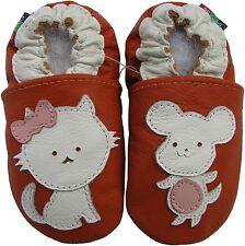 carozoo mouse cat orange 0-6m soft sole leather baby shoes
