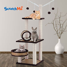 ScratchMe Cat Tree Condo Climbing Tower w/ Hammock Scratching Post w/ Perches