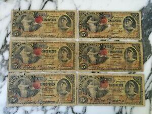MEXICO LOT OF 6 BANCO NACIONAL 5 PESOS 1908  BANKNOTES
