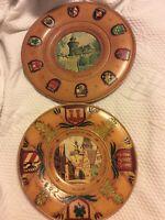 Set Of (2) Vintage German Wooden  Wall Plates, City Crests, 9.25 Diameter