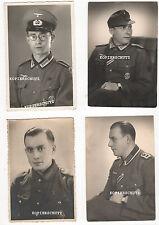 4 Original Portrait Fotos WH Soldaten mit Orden ASA Panzerkampfabzeichen 2. WK
