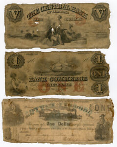 1862 US ALABAMA,GEORGIA,MISSISSIPPI 3 OBSOLETE NOTES LOT VG. RARE.